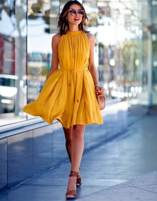 361df7d36afd mustard-dress-brown-accessories-date-night-outfit
