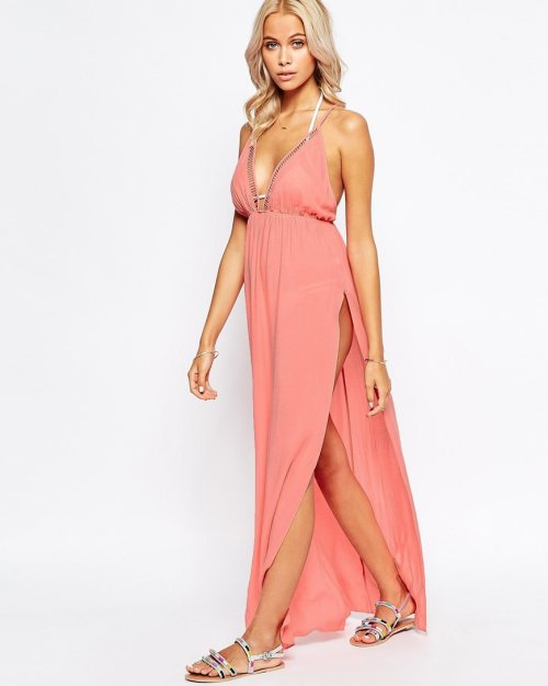 6bd7987322 cute long pink beach summer dress cover up V-neck slits Asos